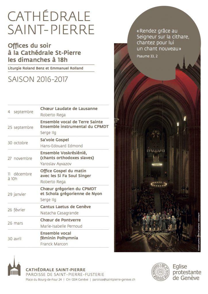 Fyler Offices du soir, Cathédrale de Genève