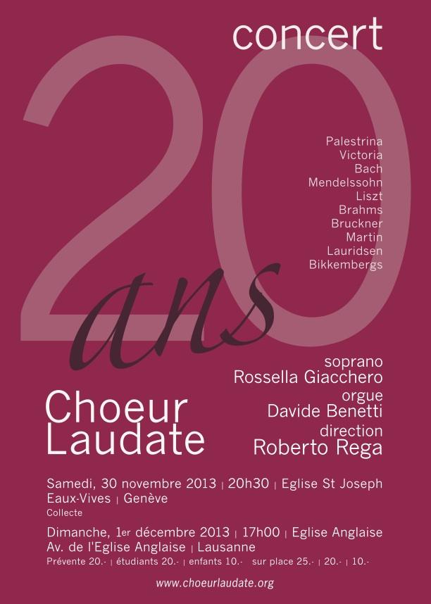 Concert de Noël 2013, Choeur Laudate, Genève et Lausanne
