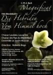 Affiche Concert Magnificat CPE Bach, Die Hebriden et Vom Himmel Hoch Mendelssohn, Choeur Laudate, décembre 2012