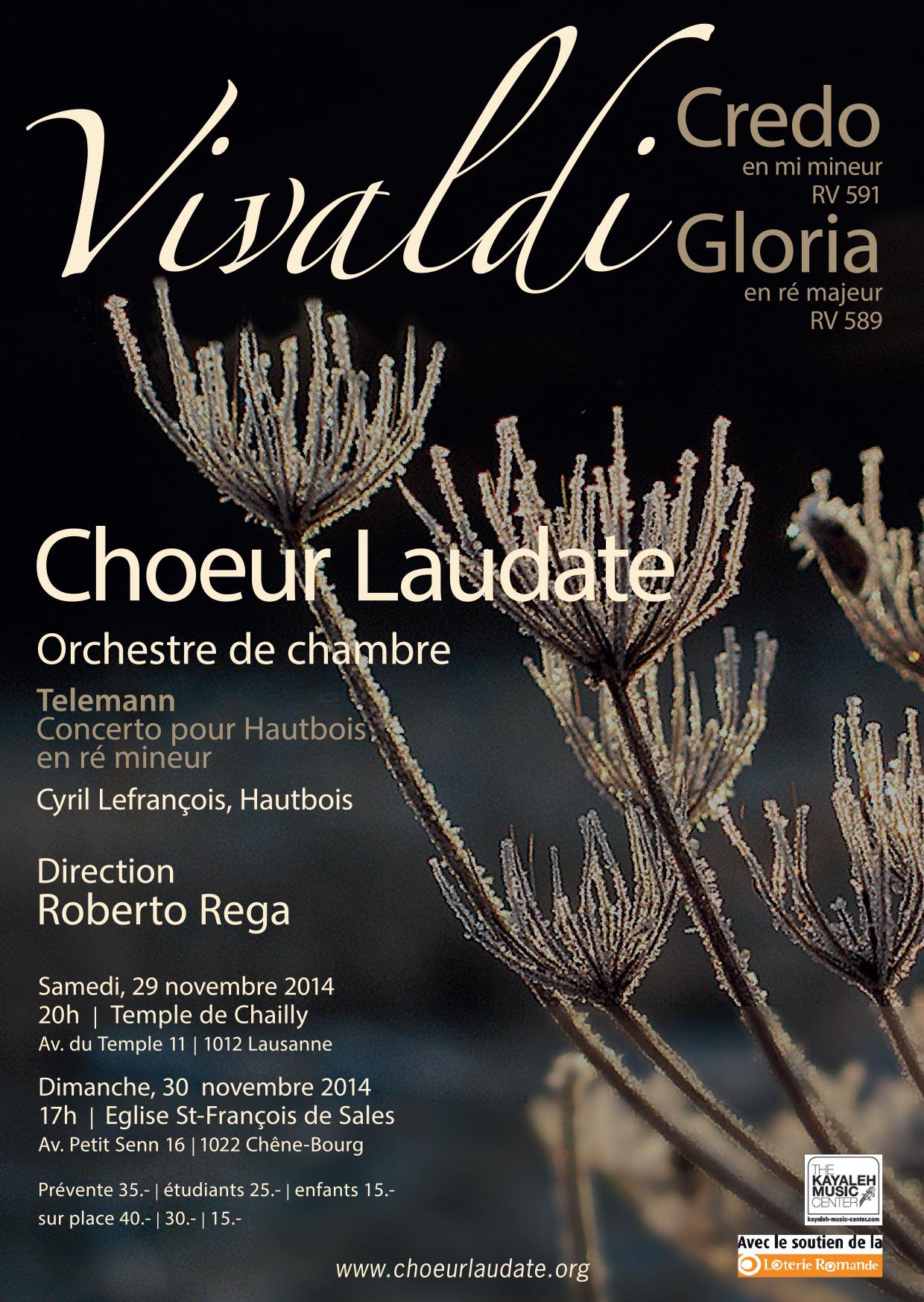 Concert de Noël 2014, Choeur Laudate, Genève et Lausanne