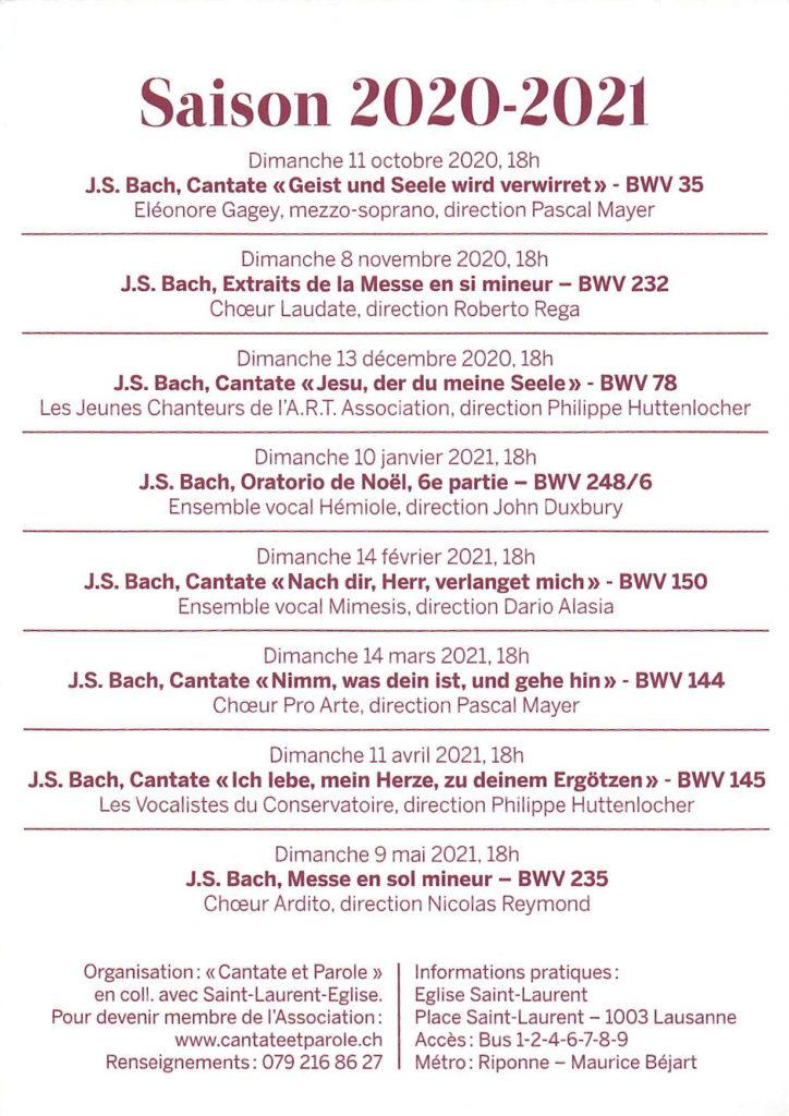 Flyer Cantate & Parole 2020-2021 dos